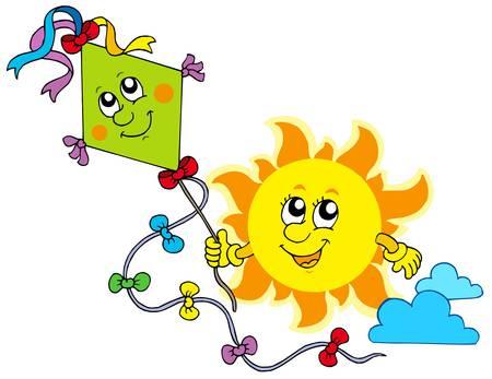 Autumn Sun with kite - vector illustration.