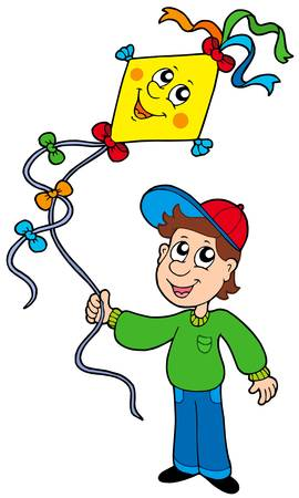 Boy with kite - vector illustration.