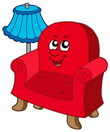padding: Cartoon armchair with lamp - vector illustration.