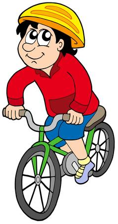 protective clothing: Cartoon cyclist on white backround - vector illustration.