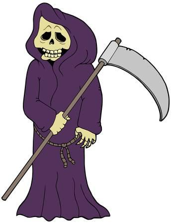 finger bones: Cartoon grim reaper - vector illustration. Illustration