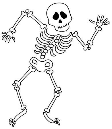 Dancing esqueleto en el fondo blanco - ilustración vectorial. Ilustración de vector