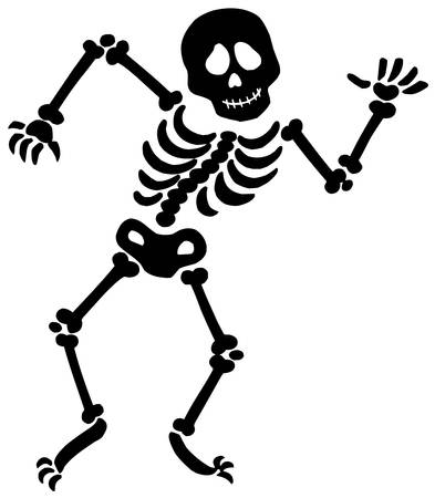 Dancing skeleton silhouette - vector illustration. Vector