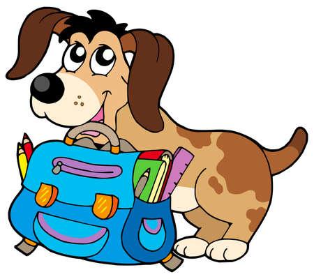 school bag: Cane con sacco a scuola - illustrazione vettoriale.  Vettoriali