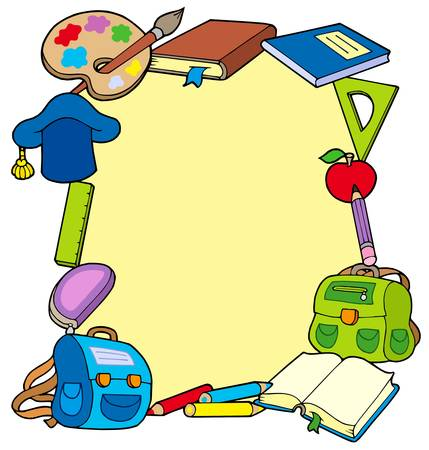 pastelky: Frame from school objects - vector illustration.