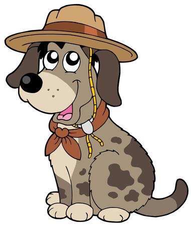 pfadfinderin: Freundlichen Hund in Scout Hut - Vektor-Illustration.