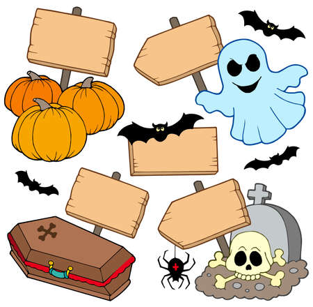 spider: Halloween wooden signs collection - vector illustration. Illustration