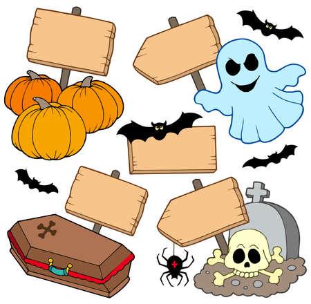 Halloween signos de recogida de madera - ilustración vectorial.