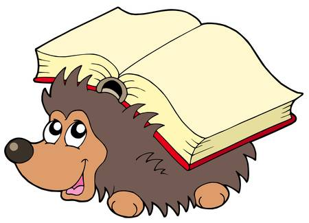 book vector: Hedgehog with book - vector illustration.