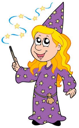 Little wizard girl - vector illustration. Stock Vector - 5337496