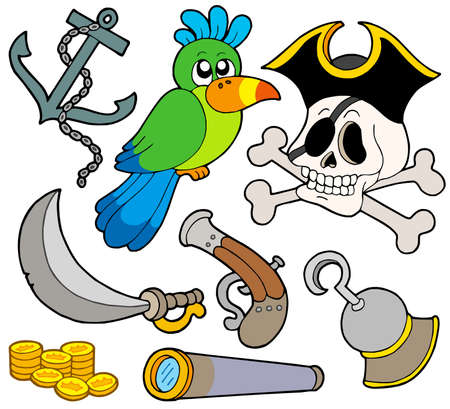 Pirate collection 9 on white background - vector illustration. Vector