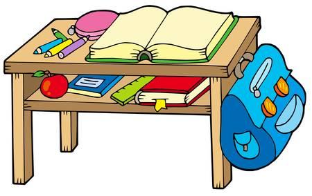 School table on white background - vector illustration. Vector