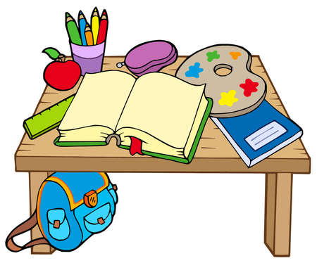 book case: School table 2 on white background - vector illustration.