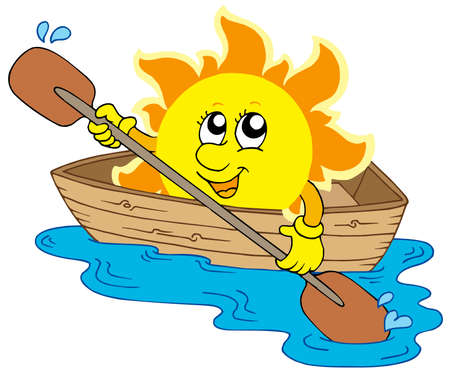 Sun in boat - vector illustration. Vector