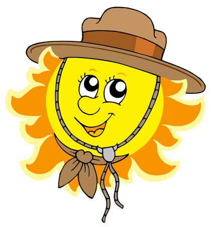 Sun in scout hat - vector illustration. Vector