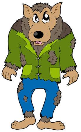 loup garou: Werewolf Caricature sur fond blanc - illustration vectorielle. Illustration