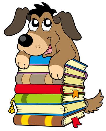 Cute chien sur pile de livres - illustration vectorielle.