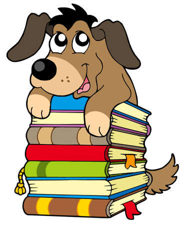 pile books: Cute dog on pile of books - vector illustration.
