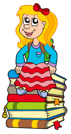 Girl sitting on pile of books - vector illustration. Vector