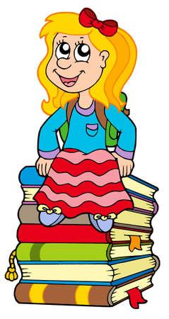 Girl sitting on pile of books - vector illustration. Stock Vector - 5384560