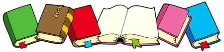 Línea de libros - ilustración vectorial.