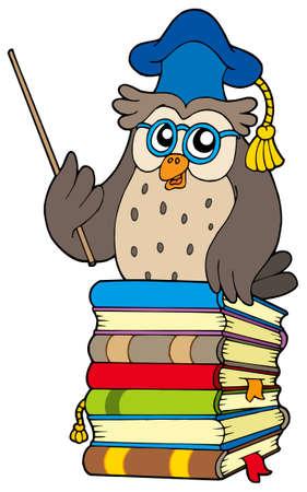 libro de cuentos: Profesor b�ho sabio de los libros - ilustraci�n vectorial.