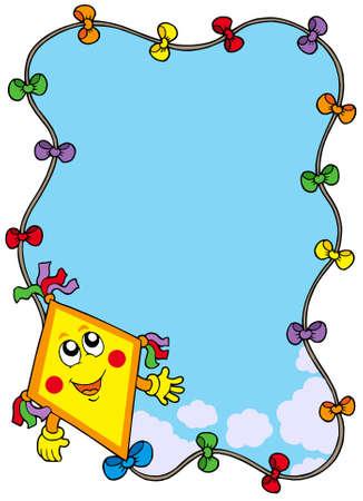 凧: 漫画凧 - ベクター グラフィックと秋のフレーム。  イラスト・ベクター素材