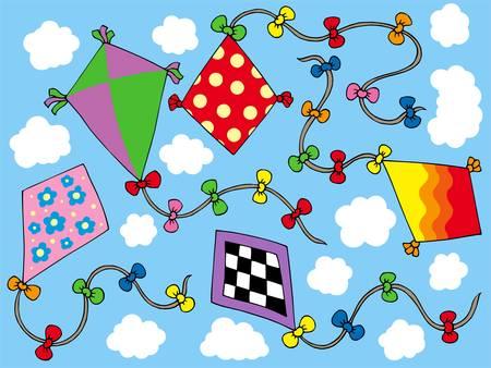 Divers kites battant sur sky - illustration vectorielle.  Illustration