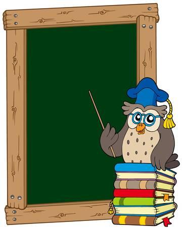 docenten: Bestuur met uil leraar en boeken - vector illustration. Stock Illustratie