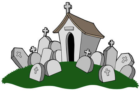 stony: Cemetery with tomb - vector illustration.