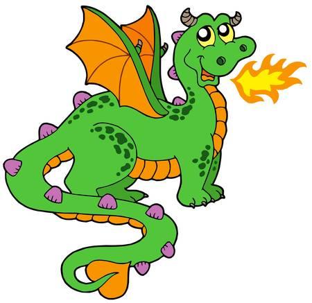 Cute dragón con cola larga - ilustración vectorial.