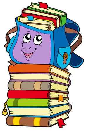 Sac d'école mignon sur la pile de livres - illustration vectorielle.