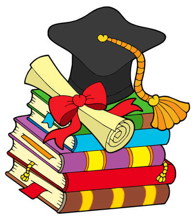 diplomas: Graduation hat on pile of books - vector illustration.