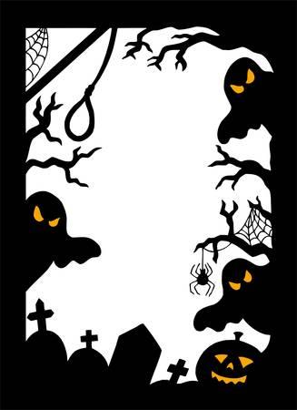 Halloween silhouette frame - vector illustration. Vector