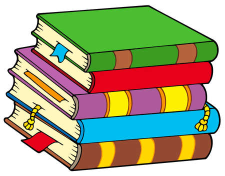 Pile of colorful books - vector illustration.