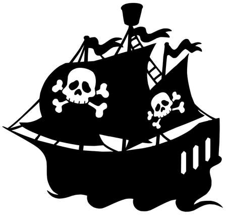 Pirate ship silhouette - vector illustration. Vector