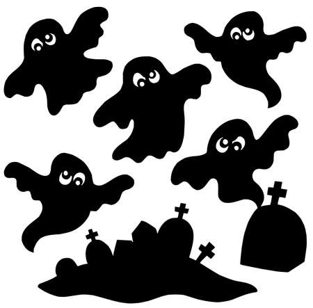 ghostly: Scary ghosts silhouettes collection - vector illustration.