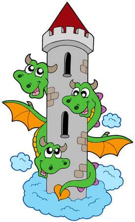 headed: Drago a tre teste con la sua torre - illustrazione vettoriale.