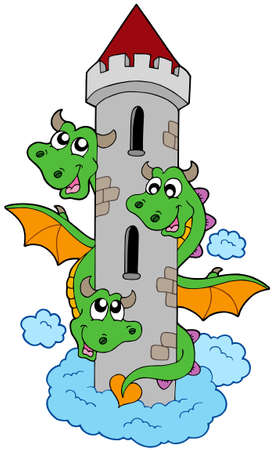 Three headed dragon with tower - vector illustration.