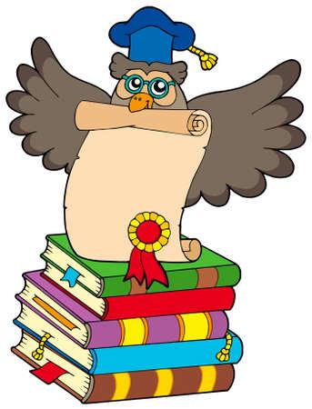 buho sabio: B�ho sabio con diploma y libros - ilustraci�n vectorial. Vectores