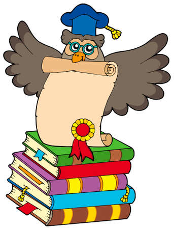Wise owl with diploma and books - vector illustration. Vector