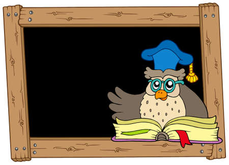Wooden blackboard with owl teacher - vector illustration. Vector
