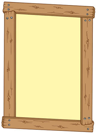 Wooden frame on white background - vector illustration. Ilustracja