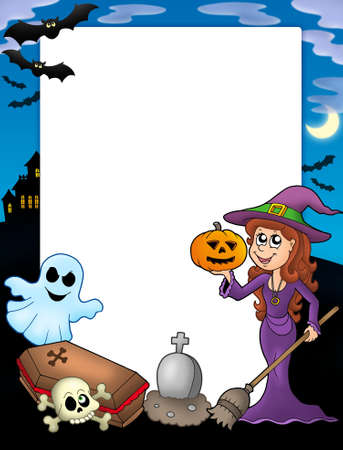 flying coffin: Halloween frame 2 with various objects - color illustration.