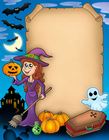flying coffin: Halloween parchment 4 with various objects - color illustration.