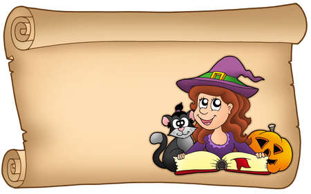 Scroll with Halloween girl - color illustration. illustration