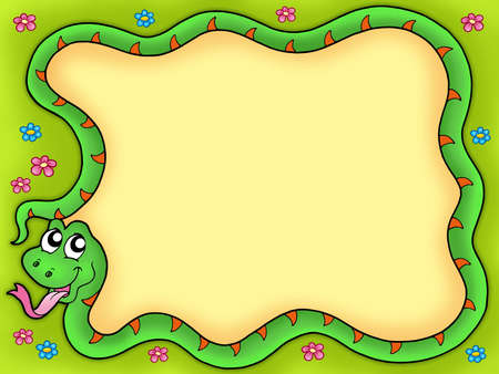 Snake frame with flowers 1 - color illustration. illustration