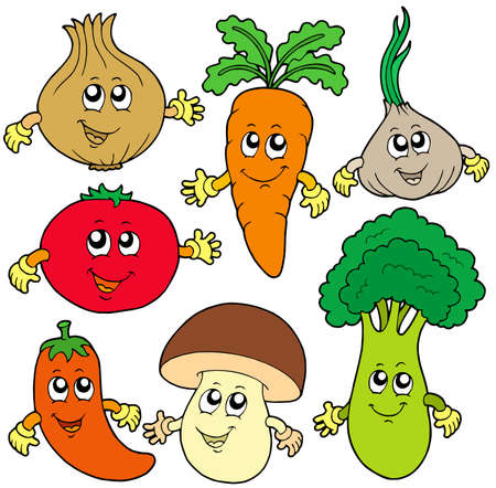 žampión: Cute cartoon vegetable collection - vector illustration.