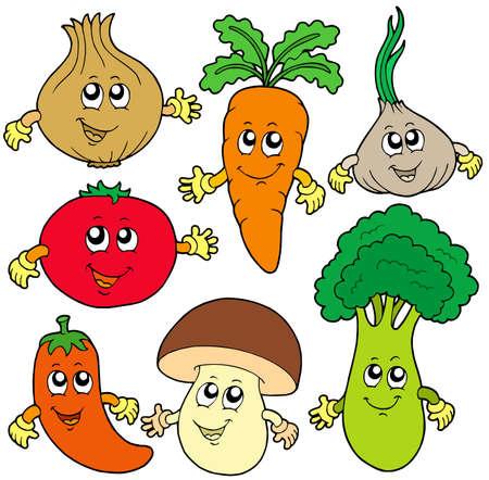 vegetable cartoon: Cute recolecci�n de hortalizas de dibujos animados - ilustraci�n vectorial. Vectores
