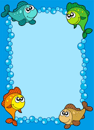 Cute frame with fishes and bubbles - vector illustration. Stock Vector - 5492799